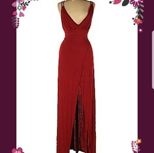 Red deep v maxi dress with slit NWT
